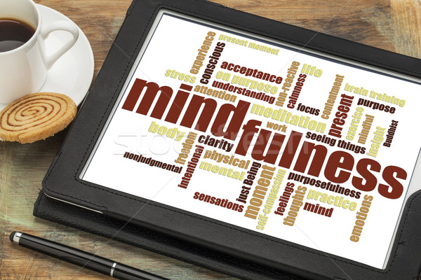 mindfulness word cloud on tablet Stock photo © PixelsAway