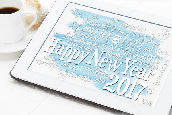 Happy New Year 2017 word cloud Stock photo © PixelsAway