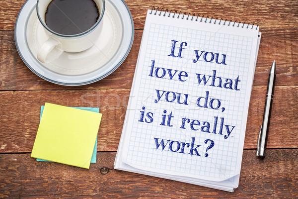Amor qué trabajo espiral cuaderno notas adhesivas Foto stock © PixelsAway
