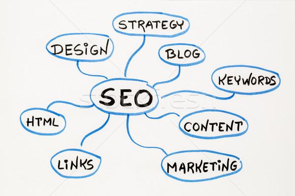SEO - search engine optimization mind map Stock photo © PixelsAway