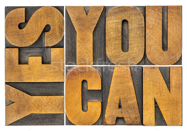 Sì può parola abstract legno tipo Foto d'archivio © PixelsAway