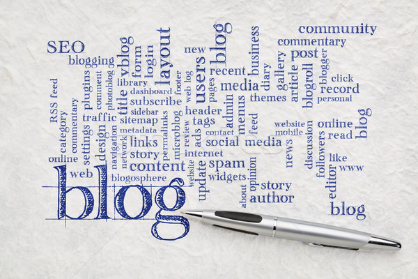 blog  word cloud on paper Stock photo © PixelsAway