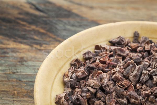 сырой какао небольшой керамической чаши Гранж Сток-фото © PixelsAway