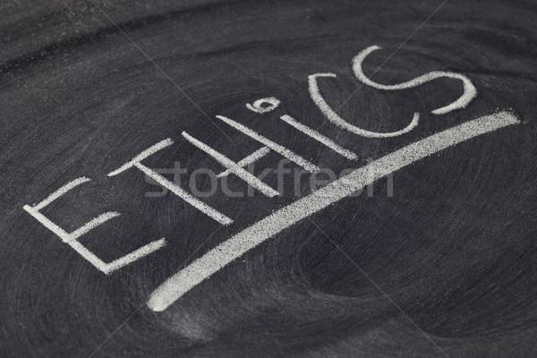 Ethiek woord Blackboard witte krijt Stockfoto © PixelsAway