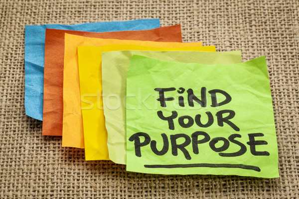Encontrar propósito motivacional recordatorio escritura nota adhesiva Foto stock © PixelsAway