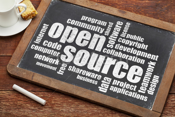 Abrir fonte nuvem da palavra software de computador desenvolvimento vintage Foto stock © PixelsAway