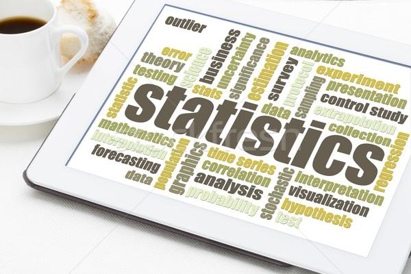 Foto stock: Estatística · nuvem · da · palavra · comprimido · dados · análise · digital