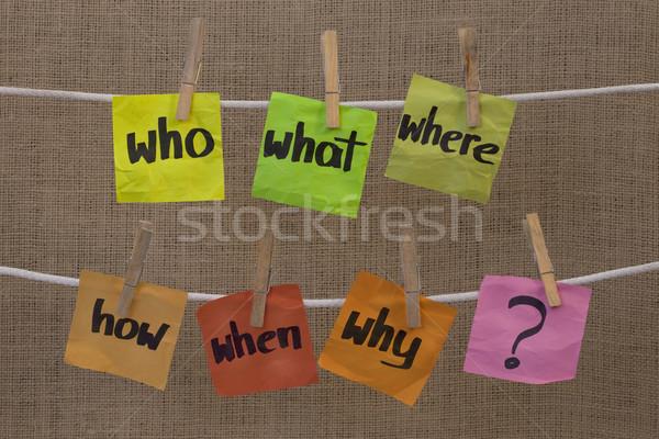 ストックフォト: ブレーンストーミング · 質問 · 何 · 不確実性 · 意思決定 · カラフル