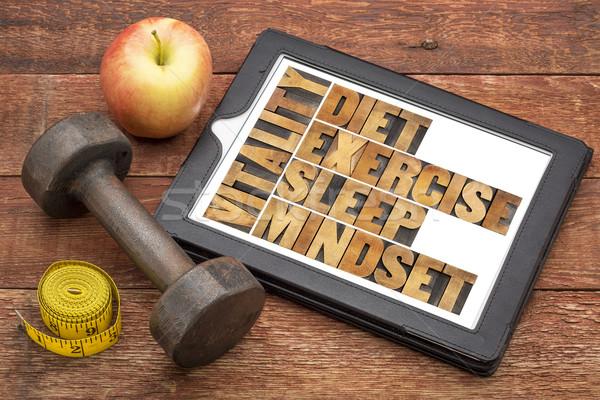Dieta sonno esercizio mentalità vitalità abstract Foto d'archivio © PixelsAway