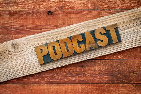Podcast rustico segno legno tipo Foto d'archivio © PixelsAway