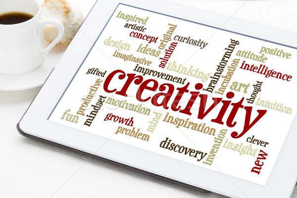 Сток-фото: креативность · слово · облако · таблетка · цифровой · Кубок · кофе