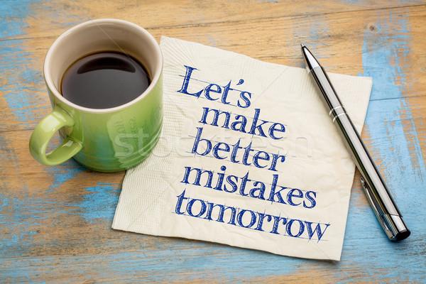 Beter morgen handschrift servet beker Stockfoto © PixelsAway