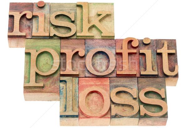 ストックフォト: リスク · 利益 · 損失 · 単語 · 木材 · タイプ