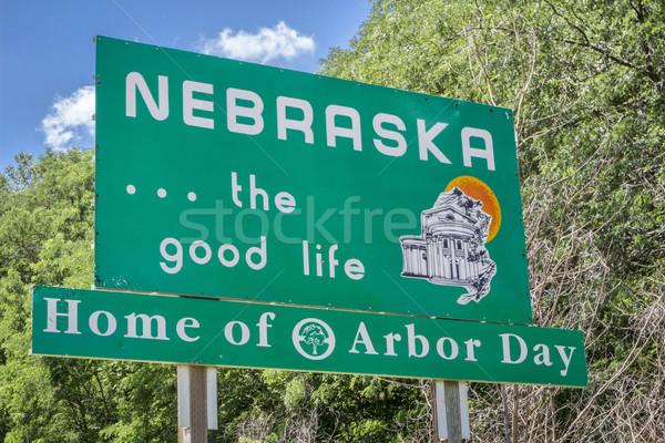 Nebraska bem-vindo placa sinalizadora casa Foto stock © PixelsAway
