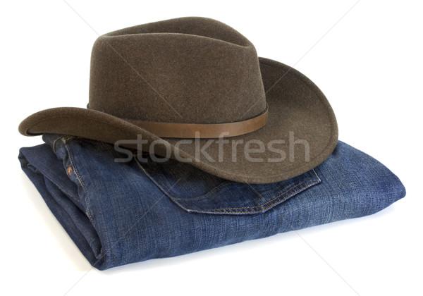 Chapéu de cowboy lã marrom oliva azul Foto stock © PixelsAway