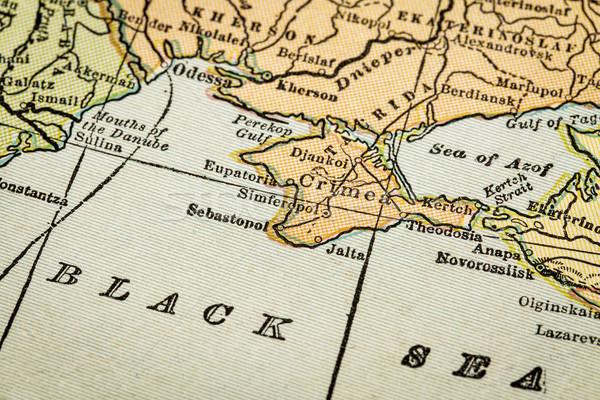 Vintage mapa preto mar costa 1920 Foto stock © PixelsAway
