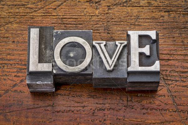 Stockfoto: Liefde · woord · metaal · type · vintage · afdrukken