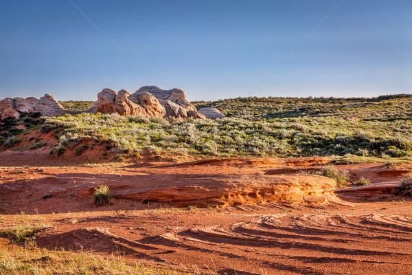 Kumtaşı kum dere kırmızı oluşum kır Stok fotoğraf © PixelsAway