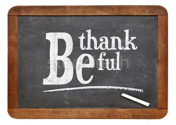 Hálás iskolatábla felirat fehér kréta szöveg Stock fotó © PixelsAway