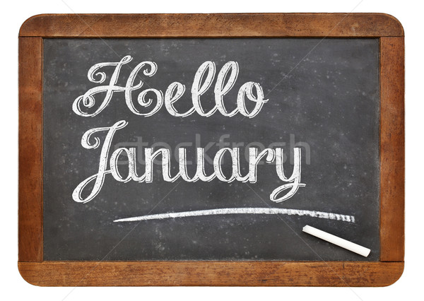 Hello January sign on blackboard Stock photo © PixelsAway