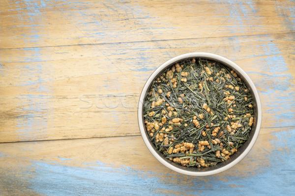 Chá verde arroz tigela grunge madeira Foto stock © PixelsAway