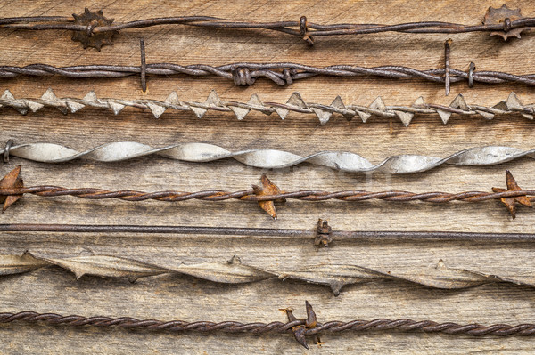 Vintage колючую проволоку коллекция ржавые деревенский сарай Сток-фото © PixelsAway