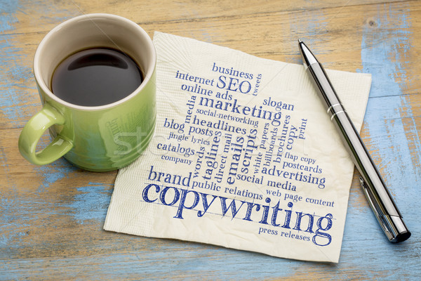 Stock photo: copywriting word cloud on napkin