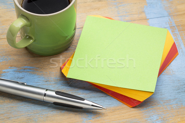 blank green sticky note with coffee Stock photo © PixelsAway