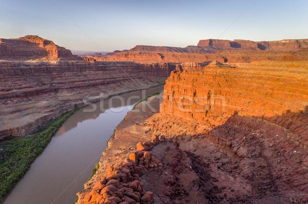 Canyon rivier zonsopgang luchtfoto beneden water Stockfoto © PixelsAway