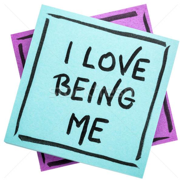 Stockfoto: Liefde · me · positief · handschrift · geïsoleerd · sticky · note