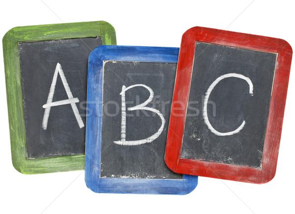 Alfabeto primero cartas blanco tiza escritura Foto stock © PixelsAway