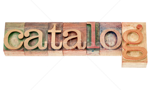Catalogus woord hout type geïsoleerd vintage Stockfoto © PixelsAway