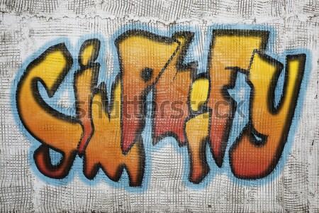 Riesgo palabra graffiti yeso pared estilo Foto stock © PixelsAway