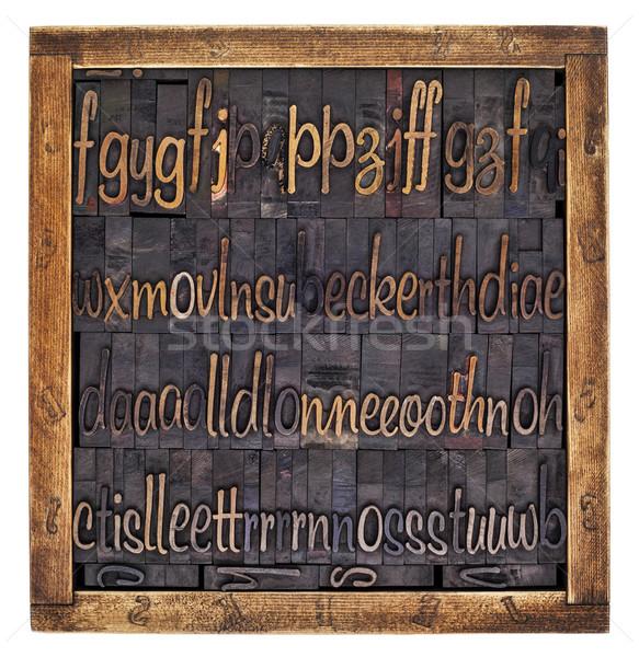 Script alphabet bois type vintage Photo stock © PixelsAway