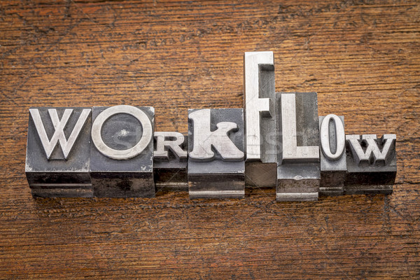 workflow word in metal type Stock photo © PixelsAway