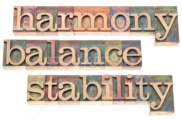 Harmónia egyensúly stabilitás tipográfia izolált szöveg Stock fotó © PixelsAway