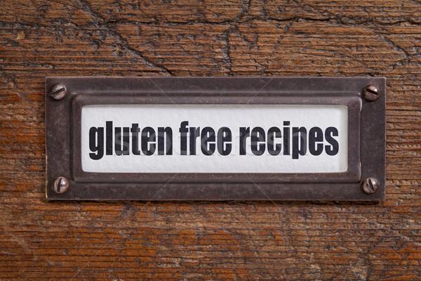 Gluténmentes receptek akta faliszekrény címke bronz Stock fotó © PixelsAway
