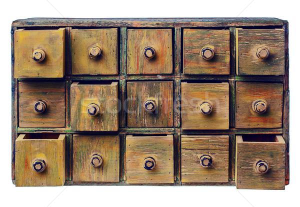 Grunge fiók faliszekrény fából készült katalógus részben Stock fotó © PixelsAway