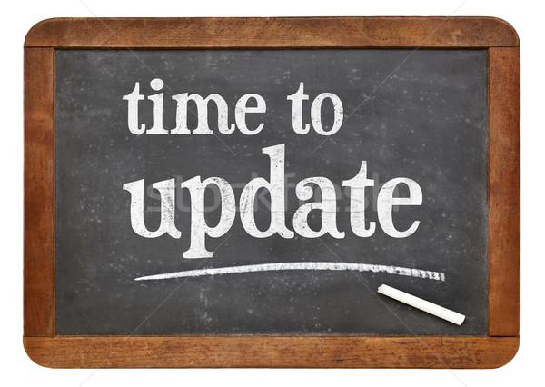 Czasu aktualizacja przypomnienie tablicy biały kredy Zdjęcia stock © PixelsAway
