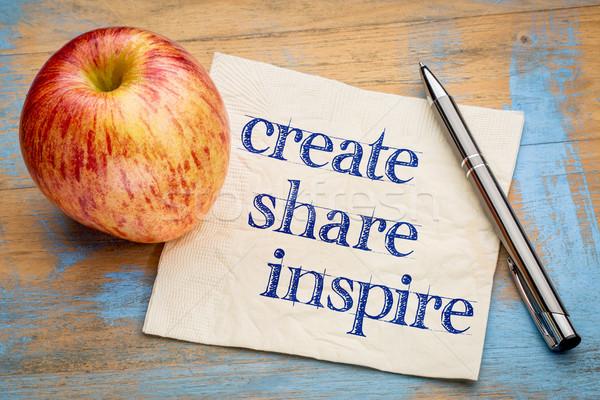 Ispirare motivazionale parole calligrafia tovagliolo Foto d'archivio © PixelsAway