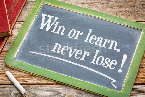 Győzelem tanul soha bő inspiráló szöveg Stock fotó © PixelsAway