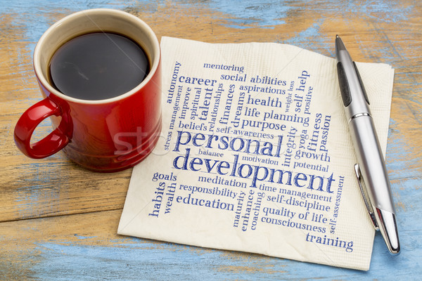 personal development word cloud on napkin Stock photo © PixelsAway