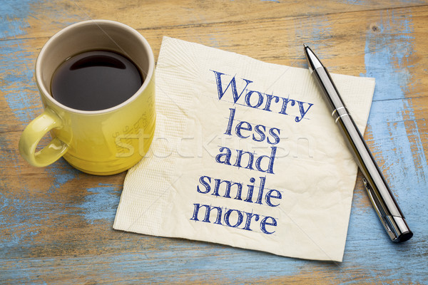Worry less and smile more inspiraitonal text Stock photo © PixelsAway