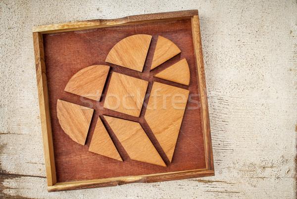 összetört szív darabok doboz hagyományos kínai puzzle Stock fotó © PixelsAway
