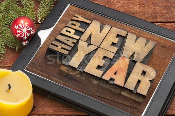 Stok fotoğraf: Happy · new · year · dijital · tablet · ahşap · tip