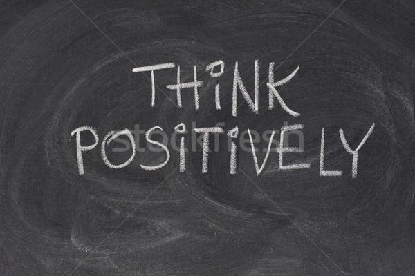 think positively slogan on blackboard Stock photo © PixelsAway
