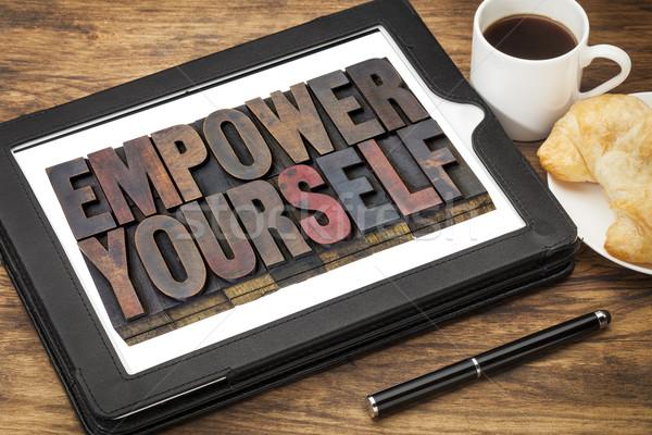 Você mesmo motivação texto vintage madeira Foto stock © PixelsAway