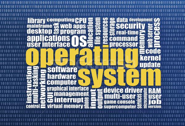 Besturingssysteem woordwolk binair computerscherm textuur veiligheid Stockfoto © PixelsAway