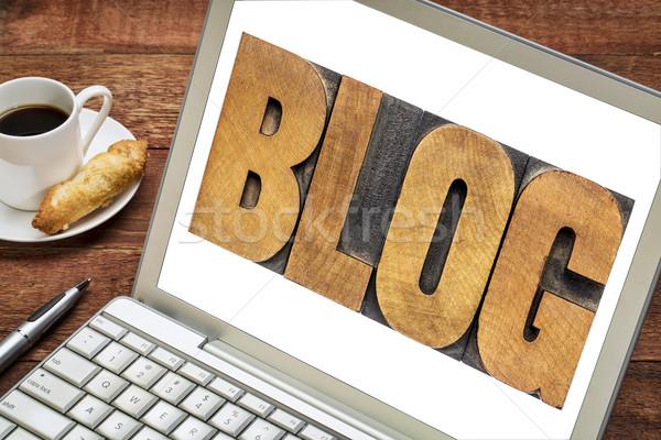 Stok fotoğraf: Blog · kelime · matbaacılık · dizüstü · bilgisayar · metin