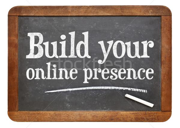 Construir línea comercialización del internet texto vintage web Foto stock © PixelsAway
